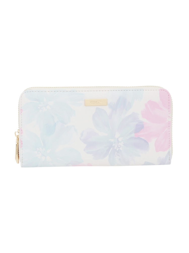【RESEXXY】花柄GOLD LINE ZIP WALLET(ホワイト-F)