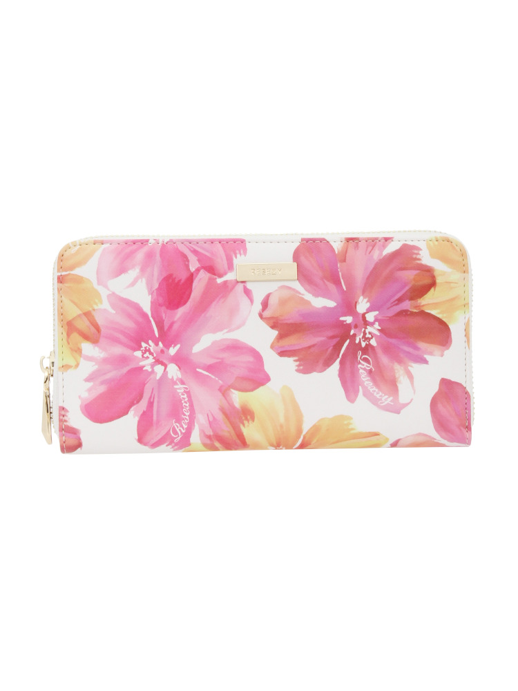 【RESEXXY】花柄GOLD LINE ZIP WALLET(ピンク-F)