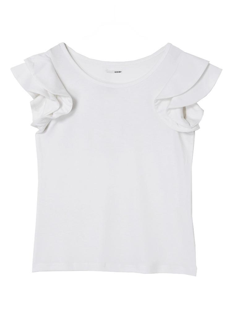 ショルダーフリルトップス(ホワイト-F)