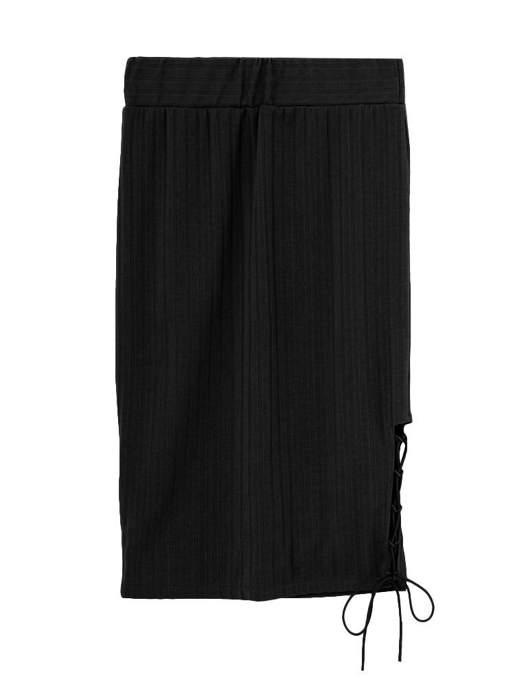 ポイントレースアップスカート(ブラック-F)