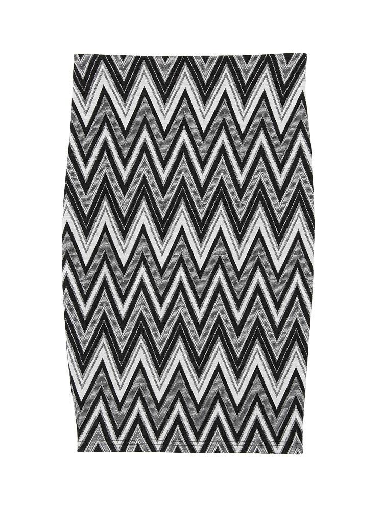 ジオメトリータイトミディスカート(ブラック-F)