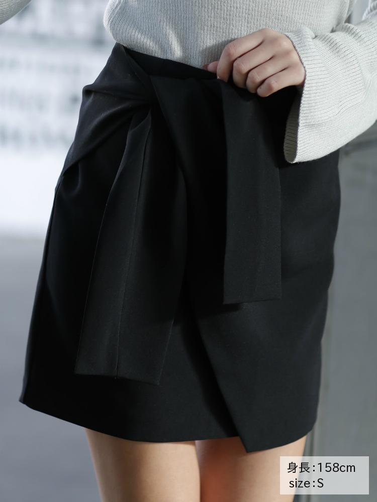 フロントリボンラップスカート