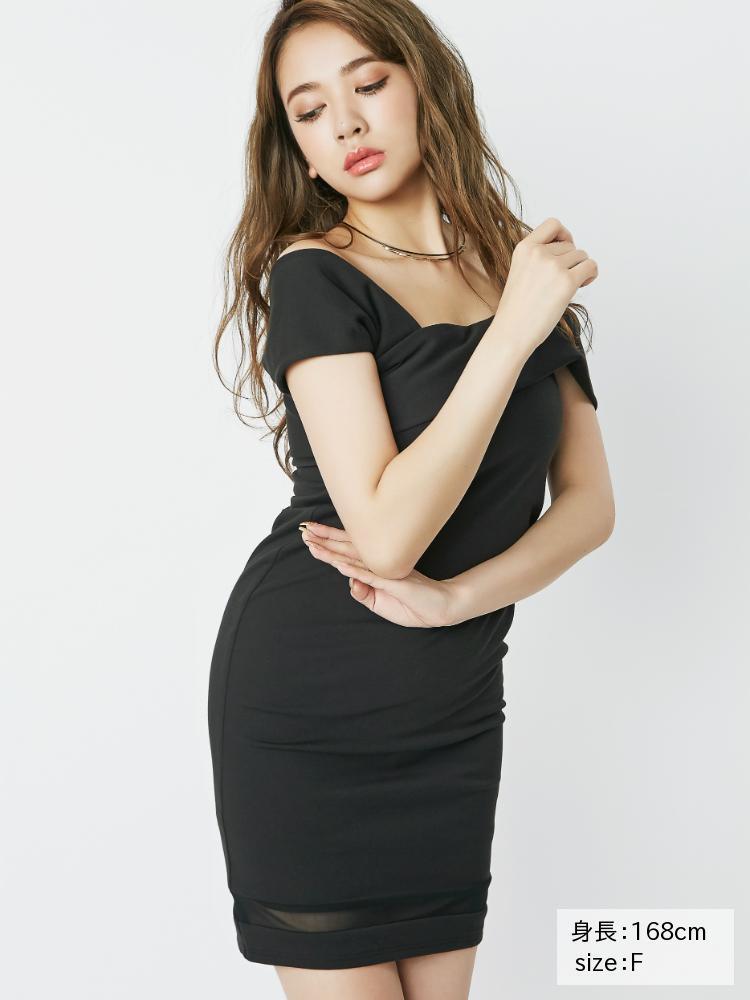 RESEXXYのワンショル風裾シアータイトワンピース