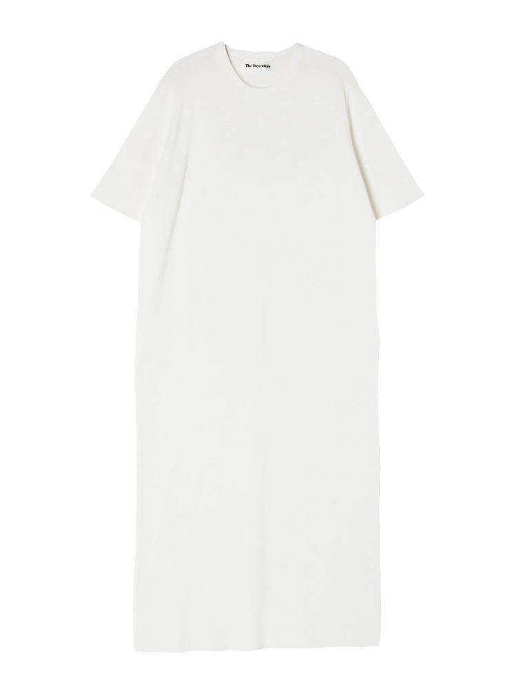 クルーネック半袖ニットワンピース(ホワイト-F)