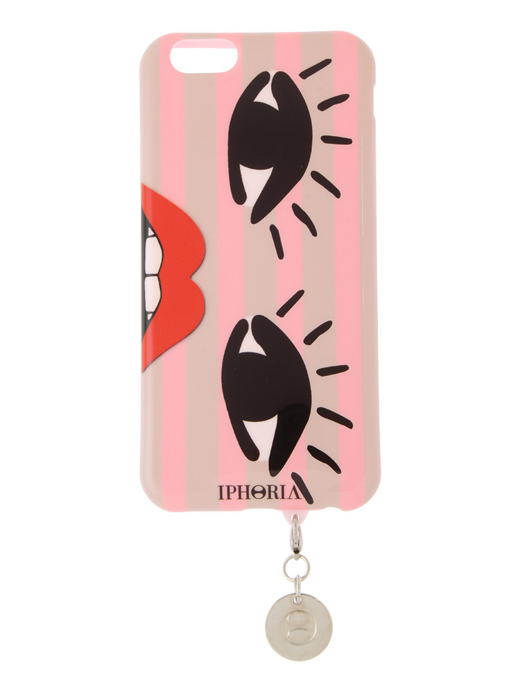 【iPhone 6 / 6s対応】【IPHORIA】PINK STRIPES WITH TASSEL(ピンク-F)