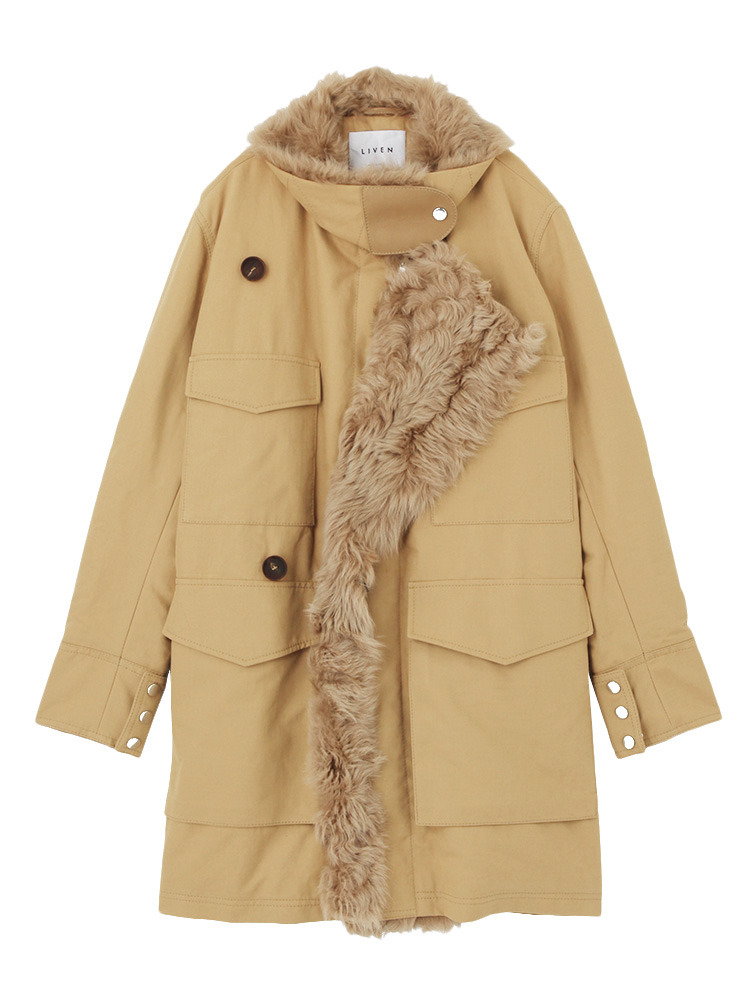 【LIVEN】COTTON TWILL+FOLK LAMB SHEARLING(ベージュ-42)