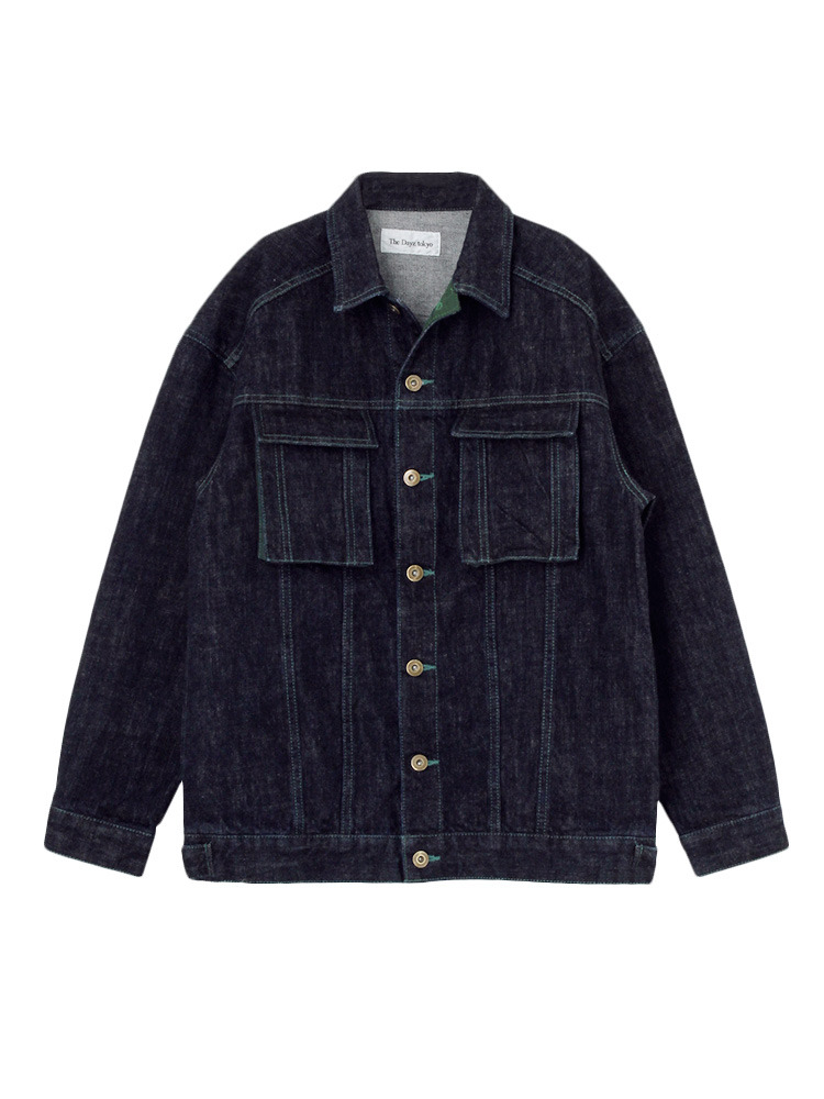 COLOR STITCH DENIM JACKET(グリーン-F)