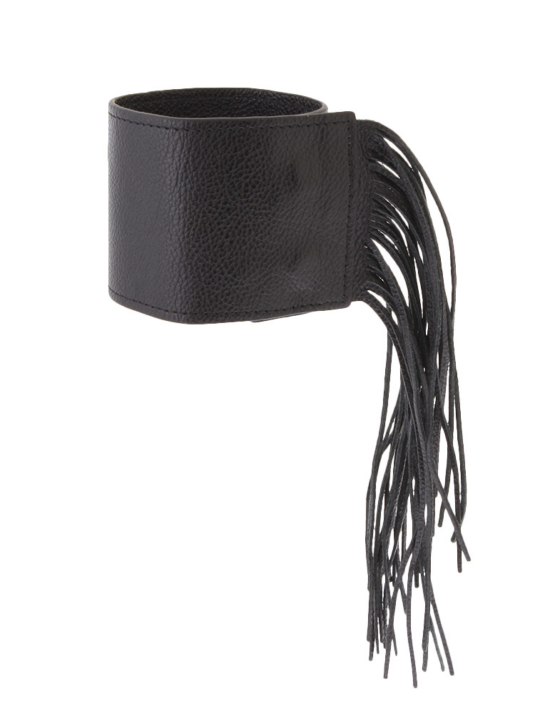 FRINGE LEATHER BANGLE(ブラック-F)