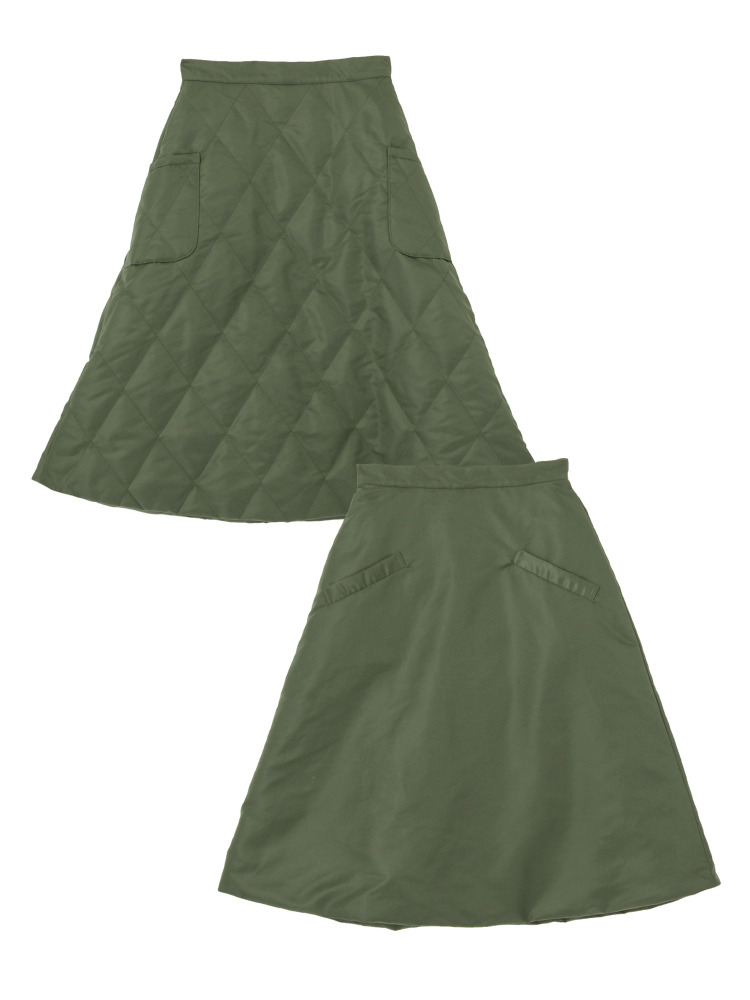 QUILTING 2WAY SKIRT(カーキ-36)