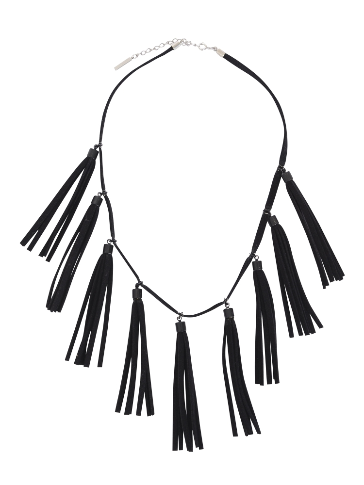 FAKE SUEDE FRINGE NECKLACE(ブラック-F)