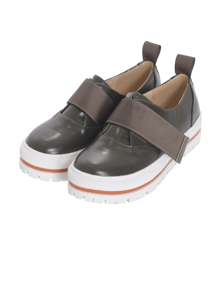 VELCRO LEATHER SHOES(カーキ-22.5)