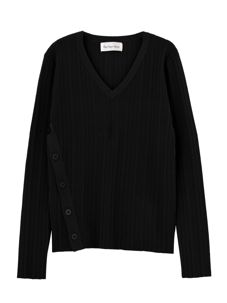 HARD RIB BUTTON KNIT(ブラック-F)