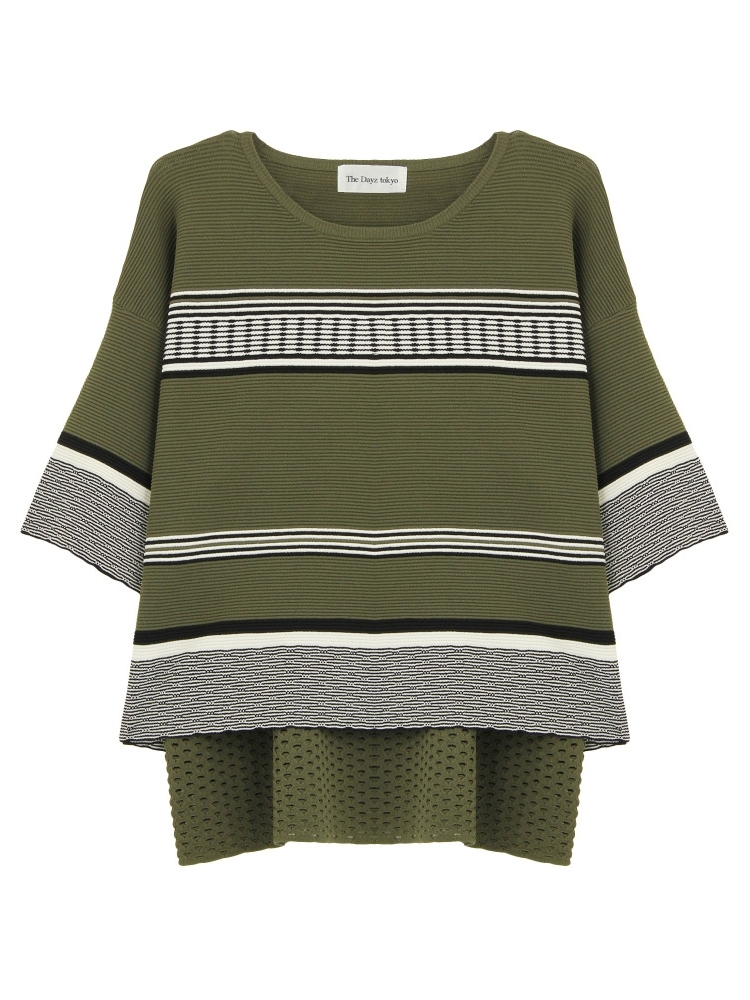 BORDER KNIT TOPS(カーキ-F)
