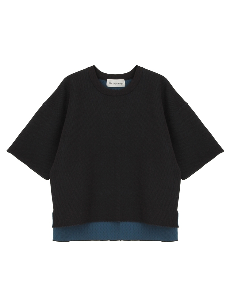 COCOON KNIT TOPS(ブラック-F)