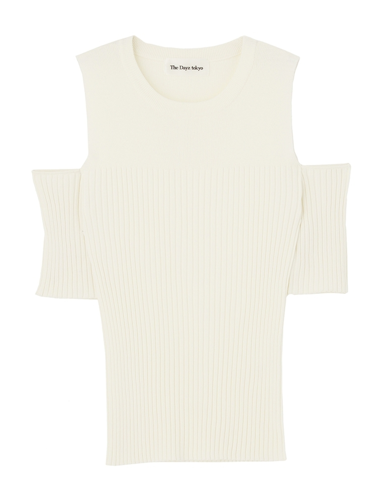 C-SHOULDER KNIT TOPS(オフホワイト-F)