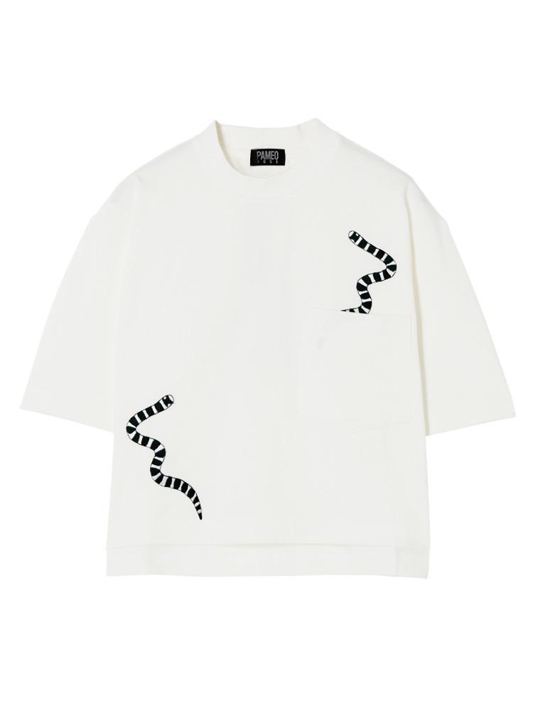 【表参道店オリジナル】SEA SNAKE EMBROIDERED T-SHIRT(ホワイト-F)