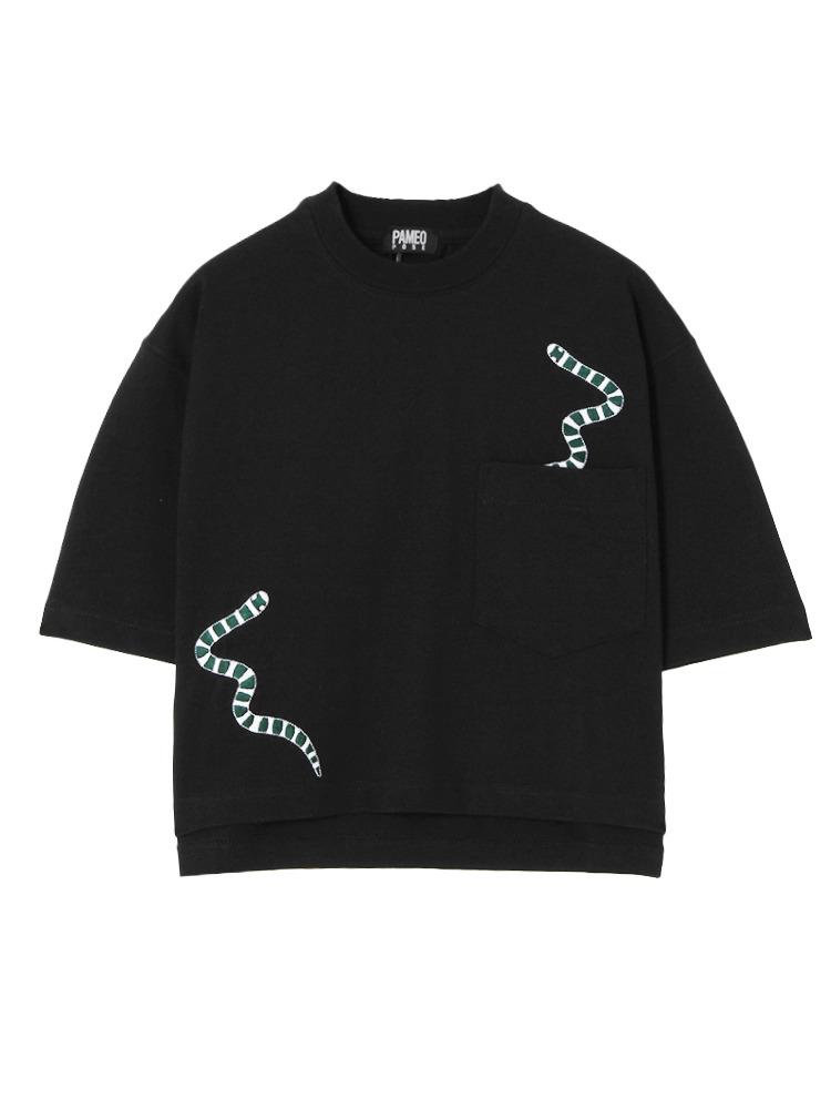 【表参道店オリジナル】SEA SNAKE EMBROIDERED T-SHIRT(ブラック-F)