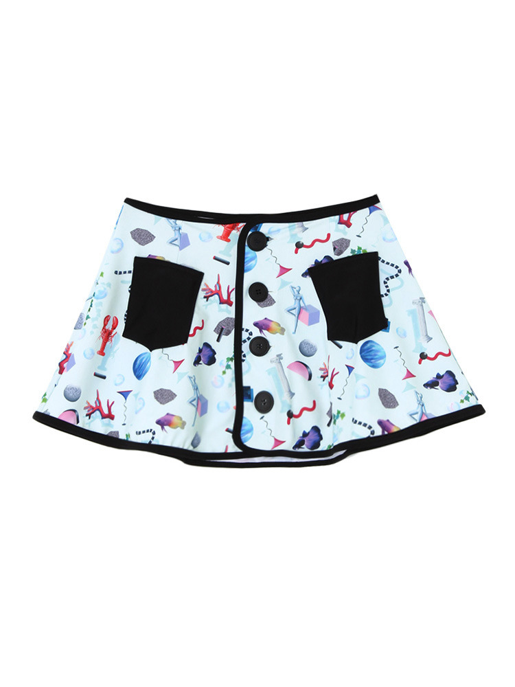 UNIVERSE PATTERN SWIM SKIRT(ブラック-F)