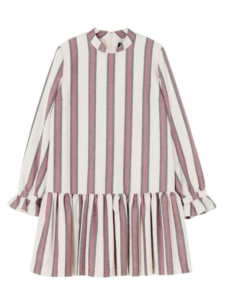 【7月下~8月上旬配送予定】PAJAMA STRIPE DRESS(ホワイト-F)