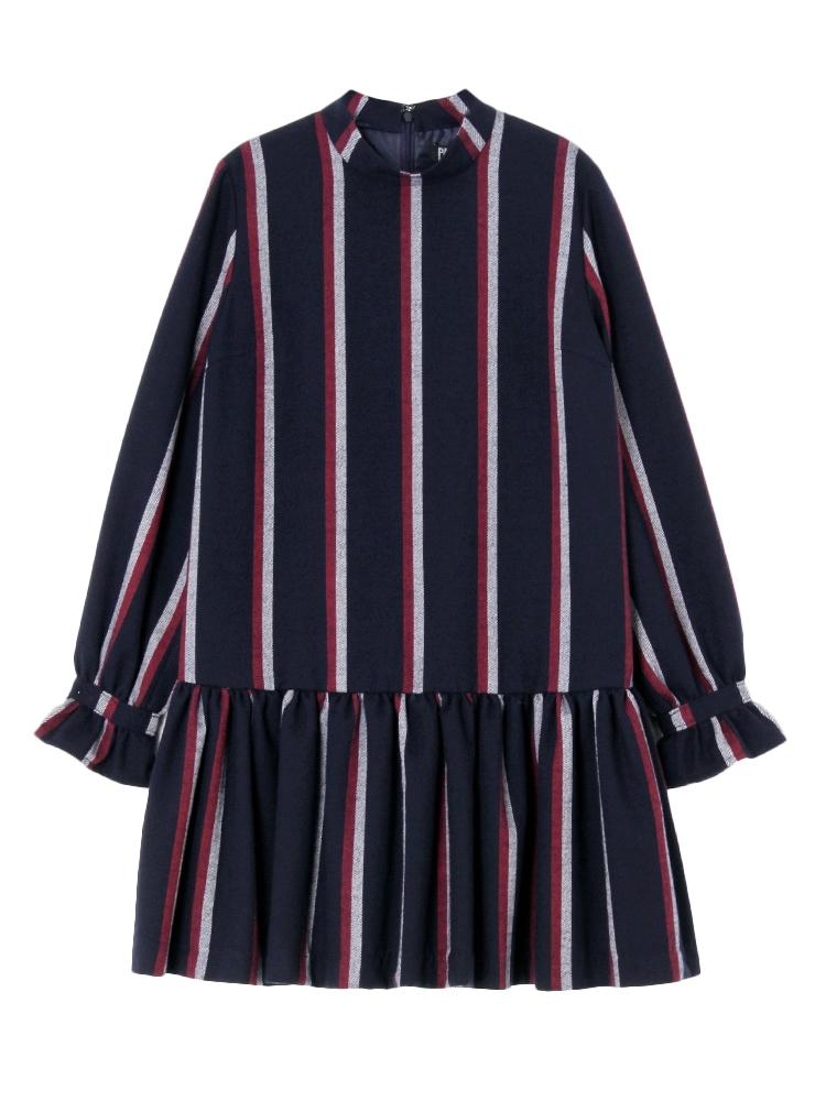 【7月下~8月上旬配送予定】PAJAMA STRIPE DRESS(ネイビー-F)