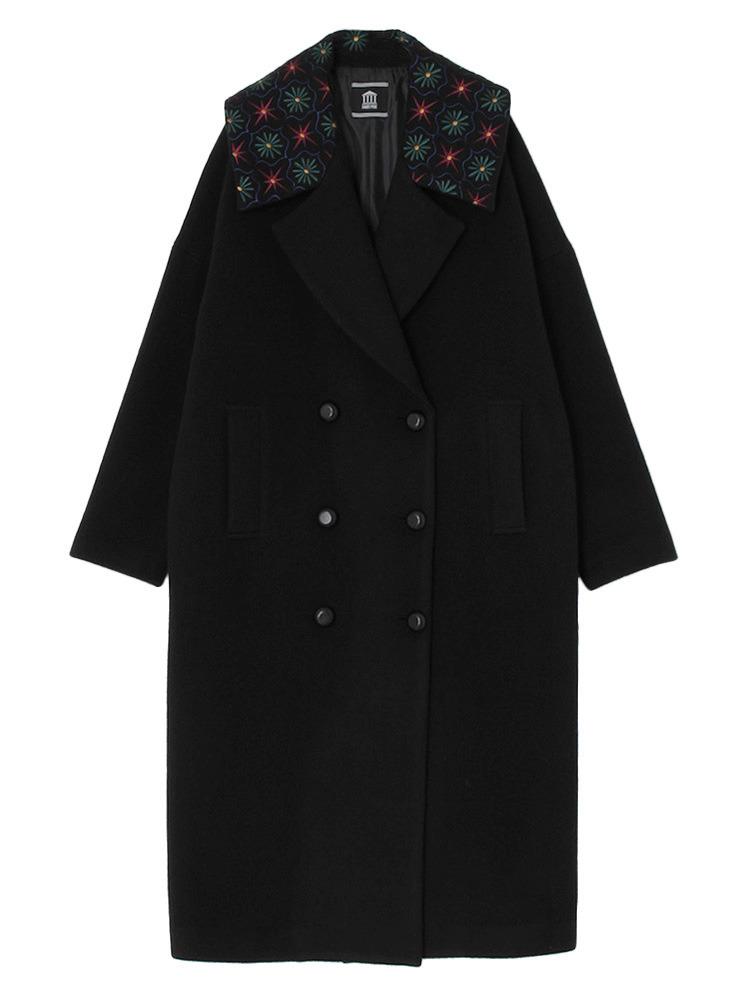 【10月中~下旬配送予定】CELING PATTERN EMBROIDERED COAT(ブラック-F)