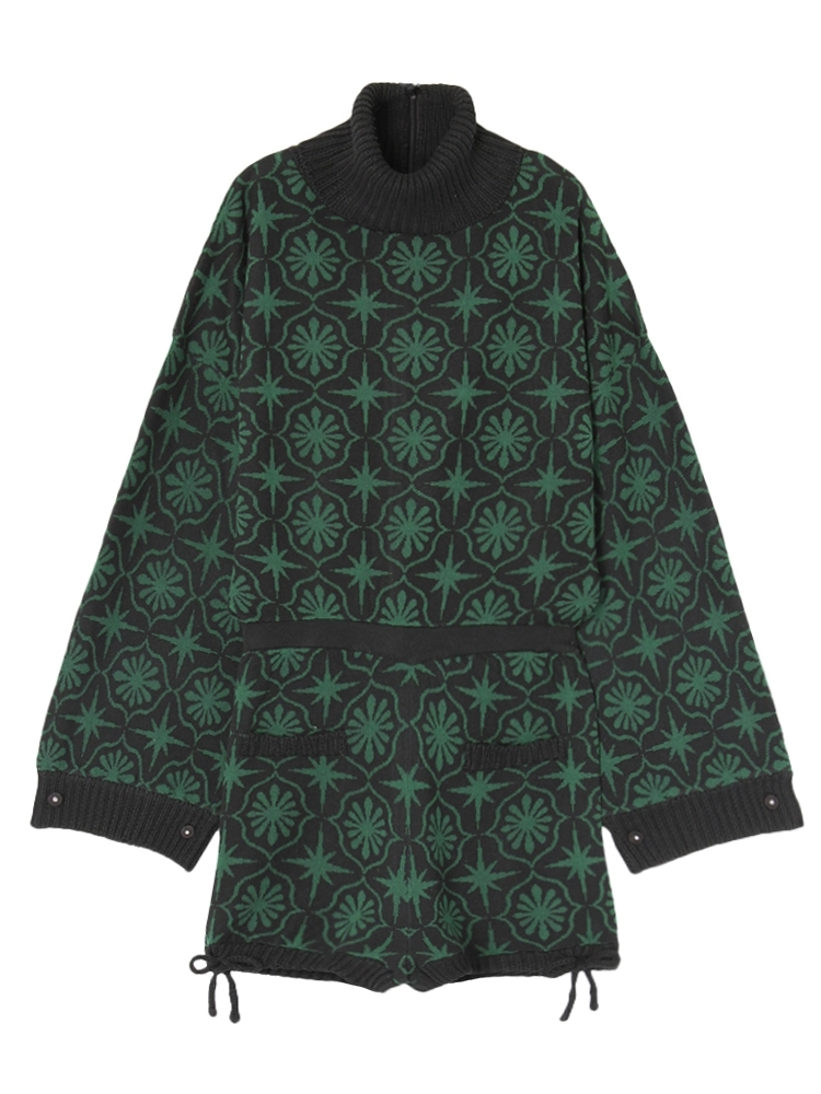 【再入荷】CEILING PATTERN KNIT ROMPERS(ブラック-F)