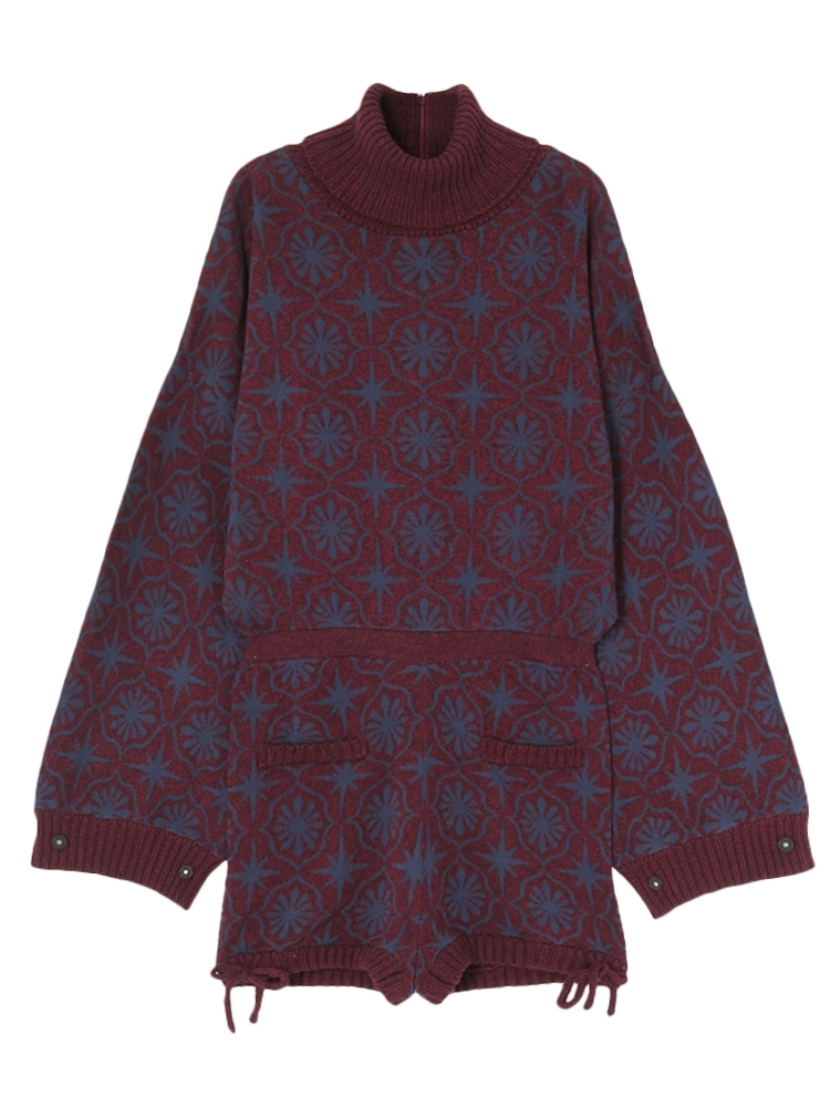CEILING PATTERN KNIT ROMPERS(ワイン-F)
