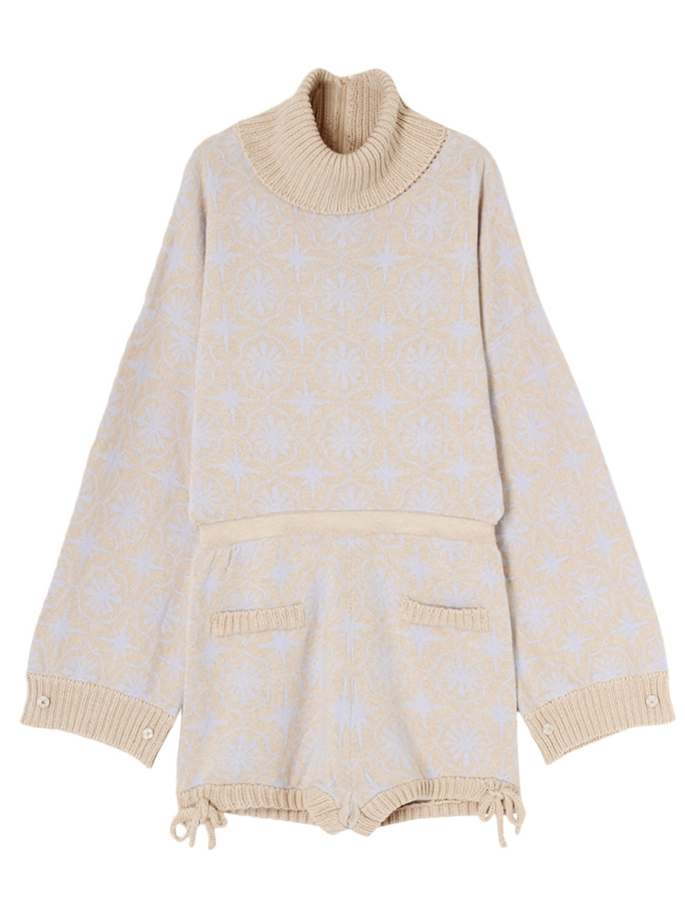 CEILING PATTERN KNIT ROMPERS(ベージュ-F)