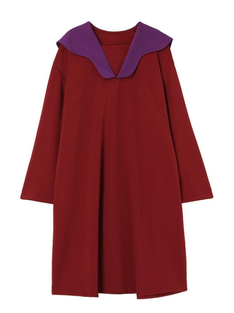 JERSEY SAILOR COLLAR DRESS(レッド-F)