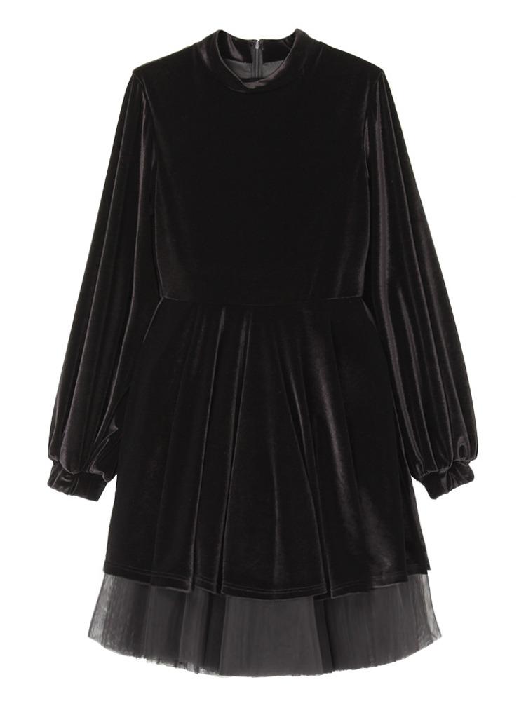 【9月下旬配送予定】BISHOP SLEEVE VELOR DRESS(ブラック-F)