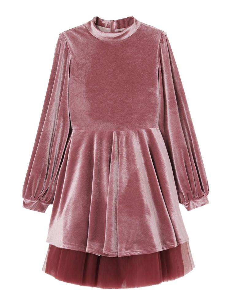 【9月下旬配送予定】BISHOP SLEEVE VELOR DRESS(ピンク-F)