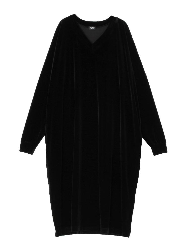 【10月中~下旬配送予定】V-NECK VELOR DRESS(ブラック-F)