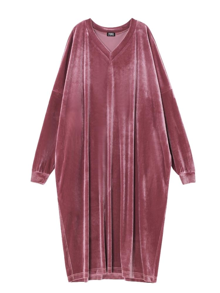 【10月中~下旬配送予定】V-NECK VELOR DRESS(ピンク-F)