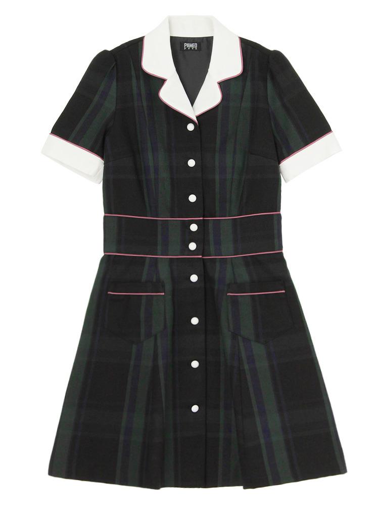 【数量限定】CHECK STACEY DRESS(グリーン-S)