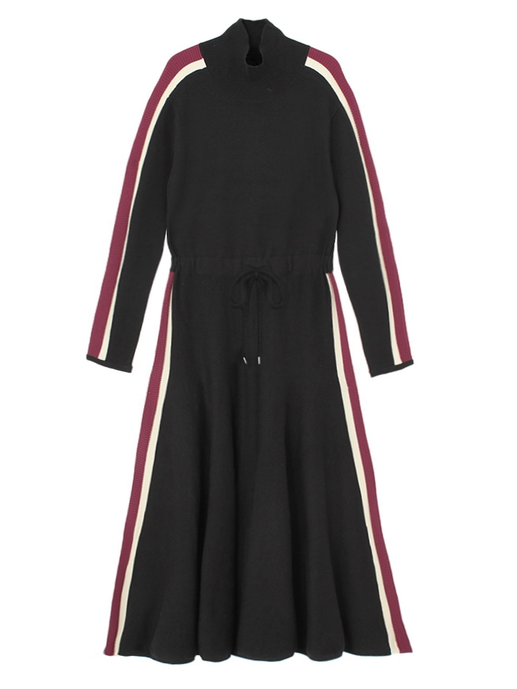 【再入荷】SIDE LINE KNIT DRESS(ブラック-F)