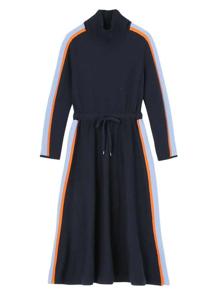 【再入荷】SIDE LINE KNIT DRESS(ネイビー-F)