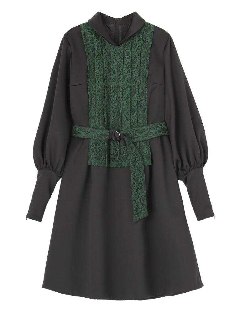 【11月中~下旬配送予定】VOYNICH LACE DRESS(グリーン-S)