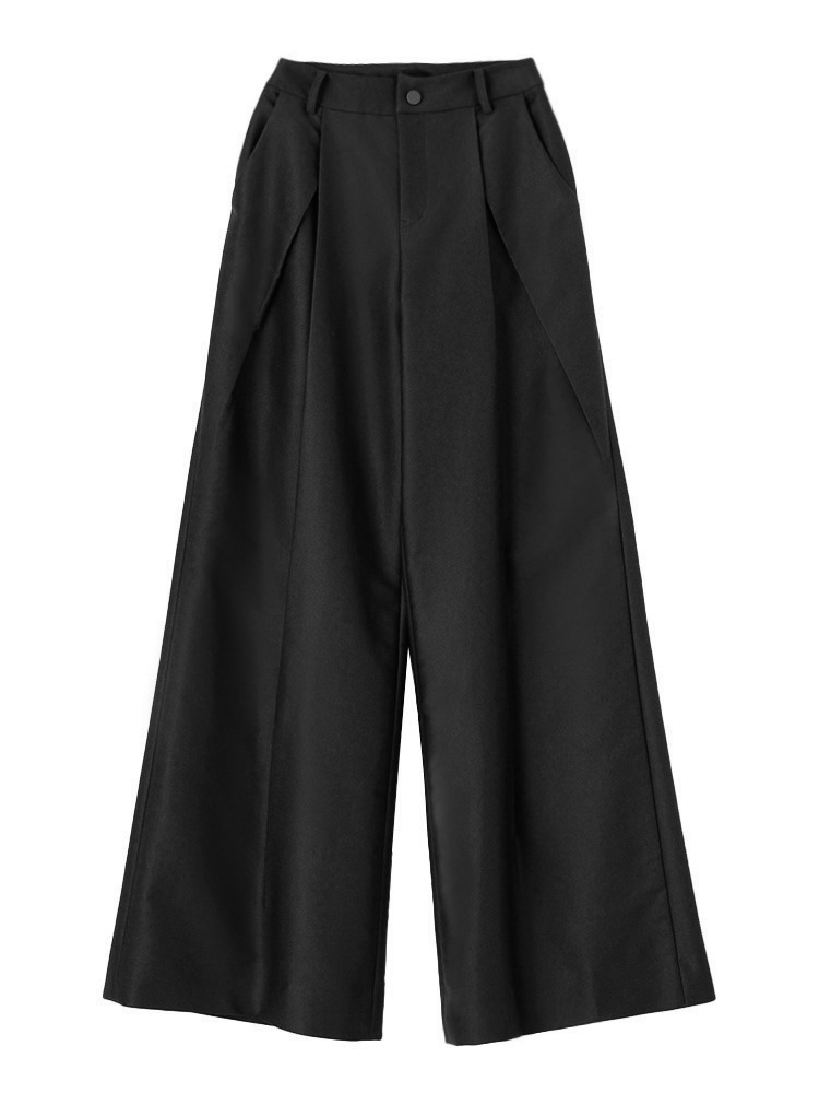 TUCK WIDE TROUSERS(ブラック-S)