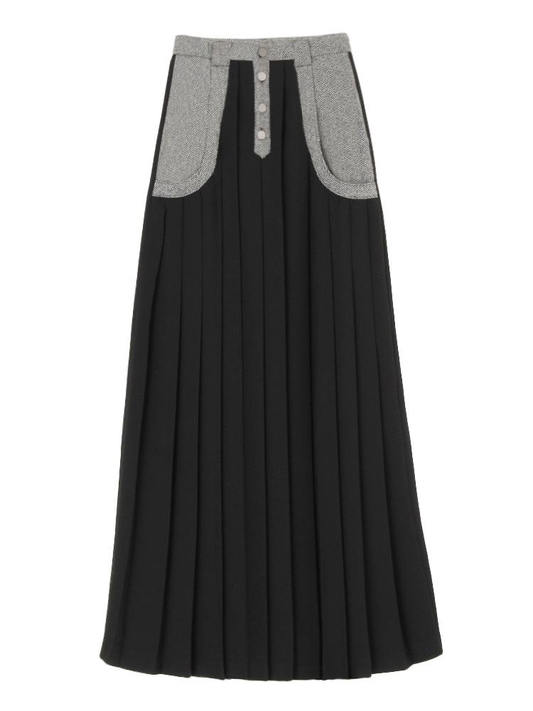 YOKE SWITCHING LONG SKIRT(ブラック-S)