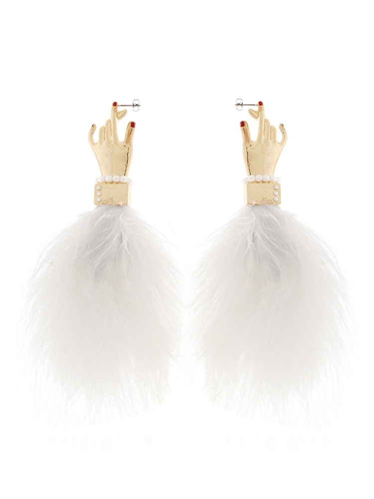 【PAMEO POSE ORIGINAL JEWELRY】PINCH MY EAR FEATHER EARRING(ホワイト-F)