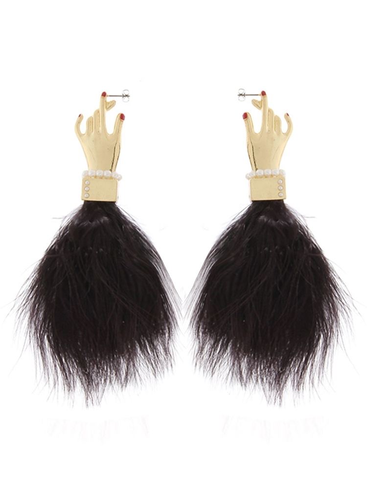 【PAMEO POSE ORIGINAL JEWELRY】PINCH MY EAR FEATHER EARRING(ブラック-F)