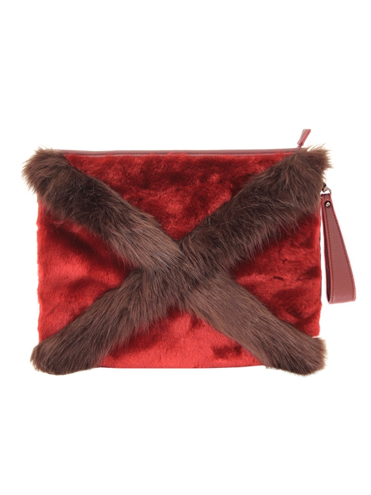 CROSS FUR CLUTCH BAG(レッド-F)