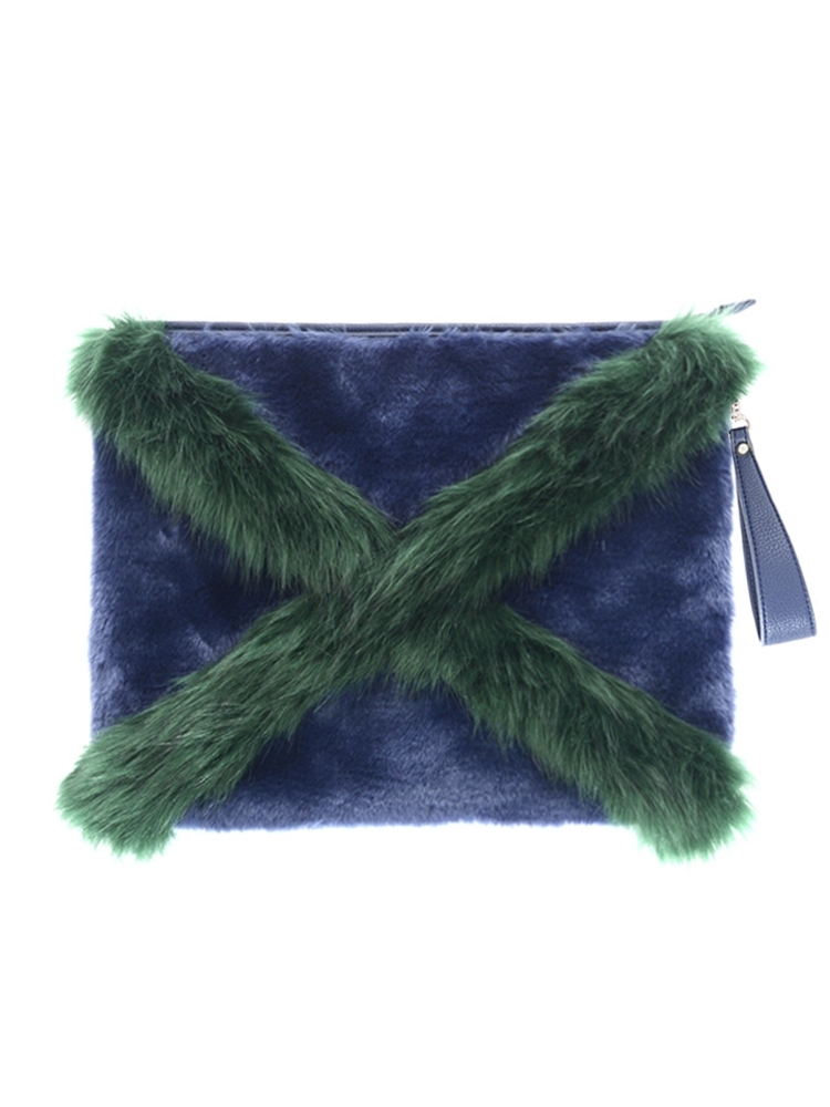 CROSS FUR CLUTCH BAG(ネイビー-F)