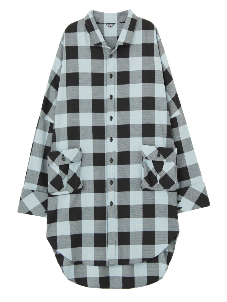 CASA VICENS PLAID SHIRTS COAT(ブラック-F)