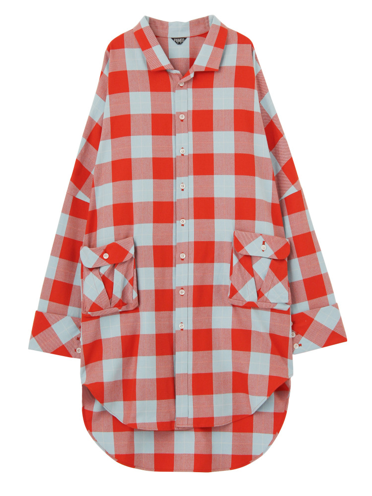 CASA VICENS PLAID SHIRTS COAT(オレンジ-F)