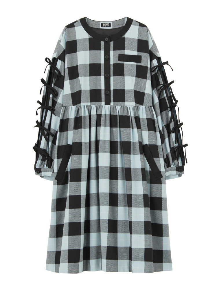 CASA VICENS PLAID DRESS(ブラック-F)
