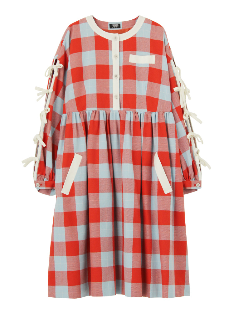 CASA VICENS PLAID DRESS(オレンジ-F)