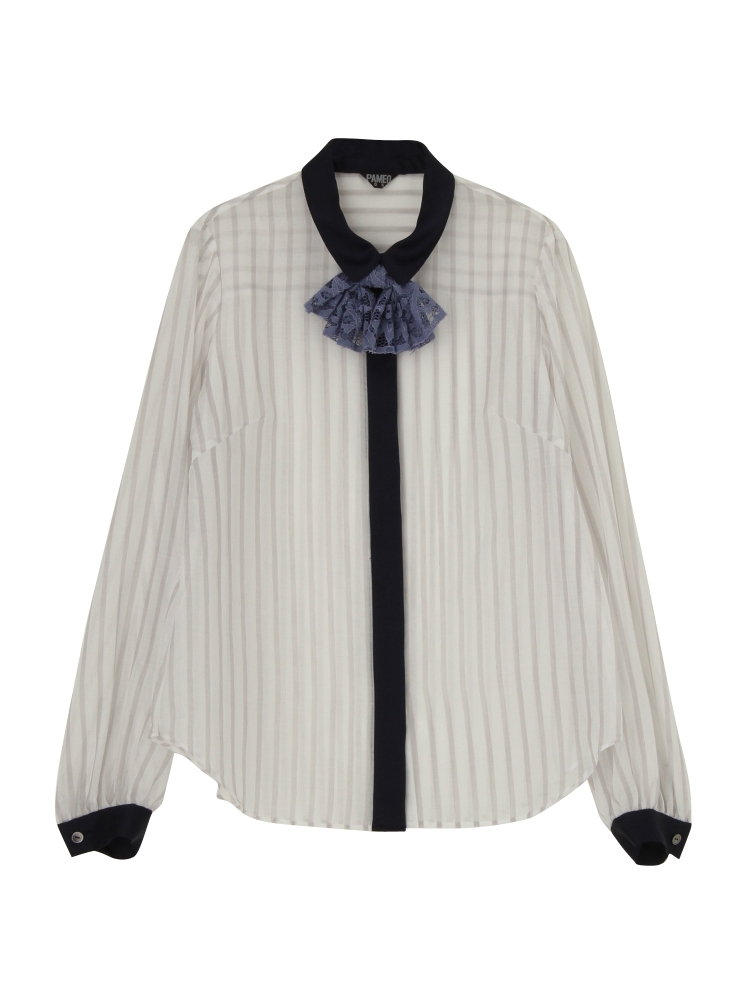 SPRING STRIPE SHIRT BLOUSE(グレー-F)