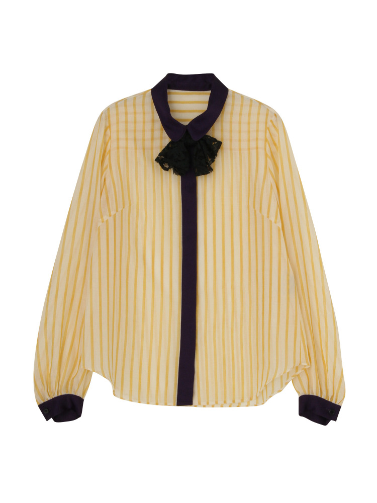 SPRING STRIPE SHIRT BLOUSE(イエロー-F)
