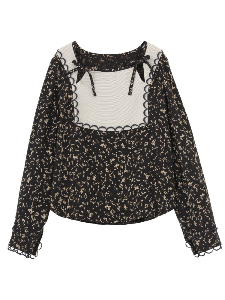 LIZARD PATTERN LACE-TRIMMED BLOUSE(ブラック-F)